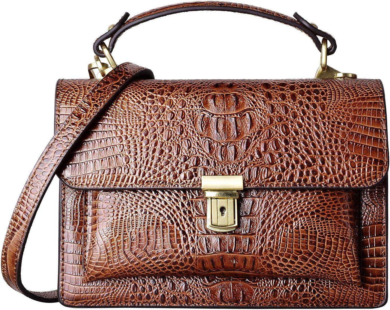 PIFUREN Small Crossbody Bags for Women Leather Top Handle Satchel Handbags Crocodile Shoulder Purses