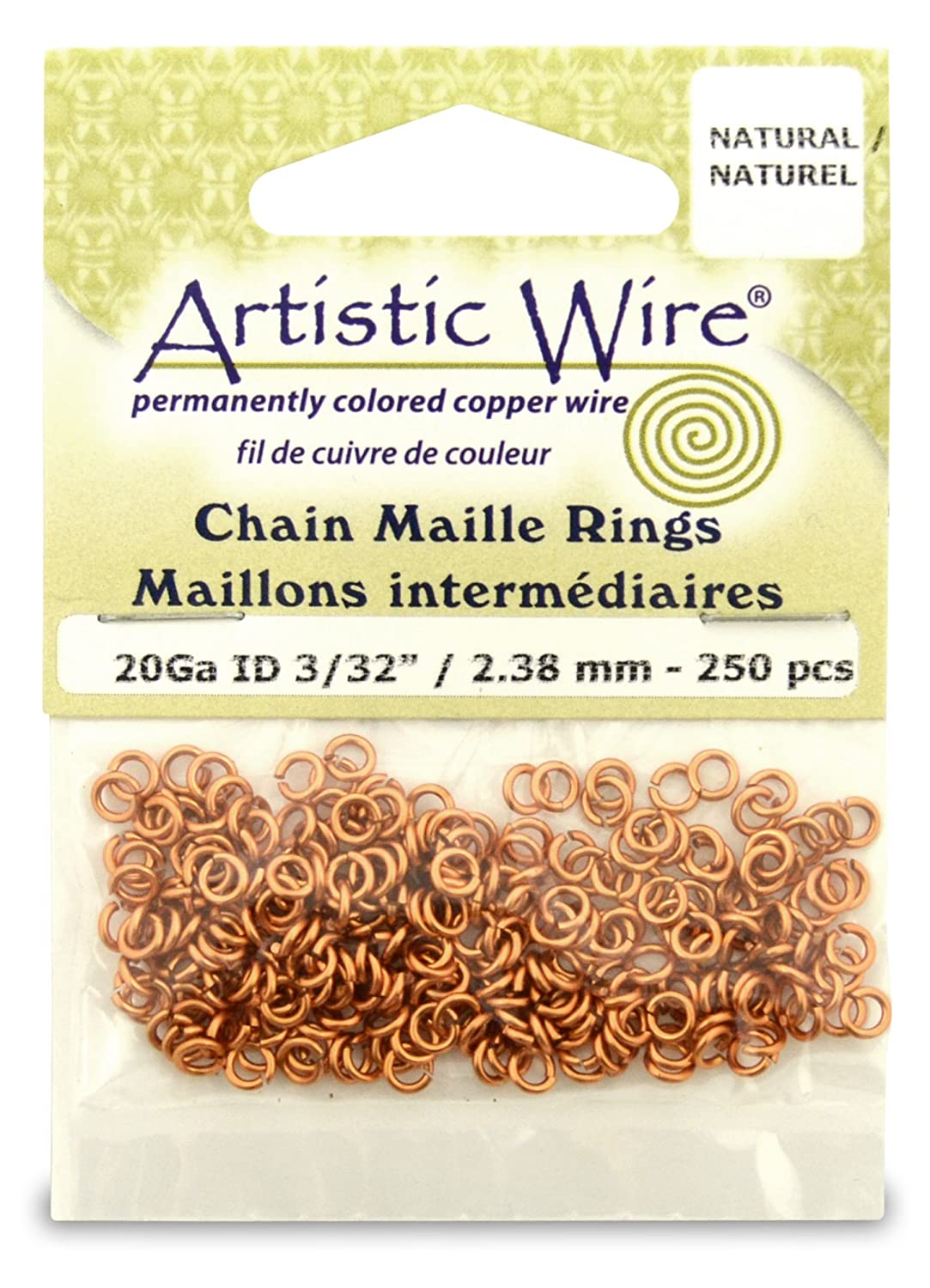 Artistic Wire Beadalon 3/32-inch 250 Piece 20-Gauge Natural Chain Maille Rings A314-20-10-02