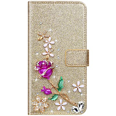 IKASEFU Compatible with Samsung Galaxy S5 Case Shiny Rhinestone Diamond Rose Flower Sparkly Bling Glitter Crystal Pu Leather Wallet With Card Holder Magnetic Flip Protective Cover Case Gold: Musical Instruments
