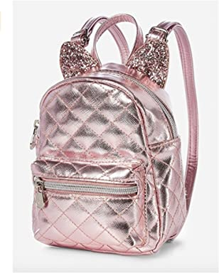 Justice Rose Gold Cat Quilted Tiny Mini Backpack
