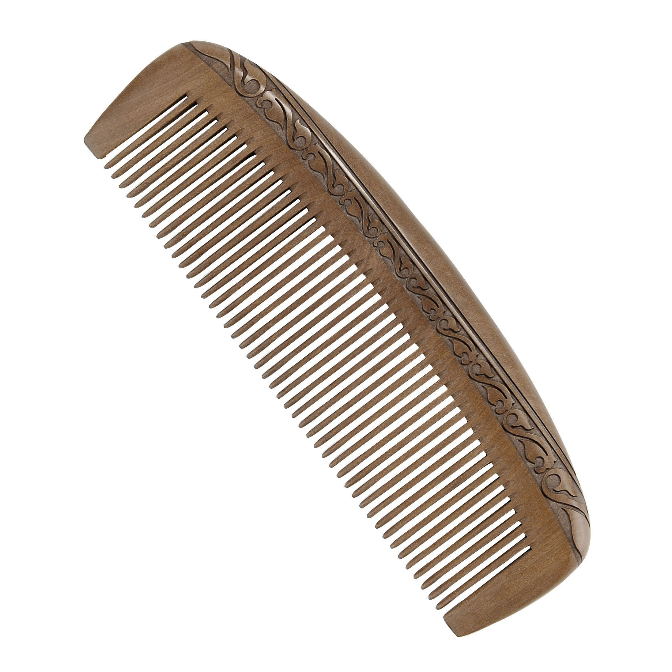 CCbeauty Handmade Peach Wood Comb Anti-Static Moon Shaped Hair Care Comb and Rounded Handle Wooden Comb Fine Tooth Comb Set