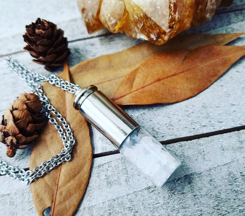 Silver bullet Supernatural necklace rock salt vial bottle Dean Winchester