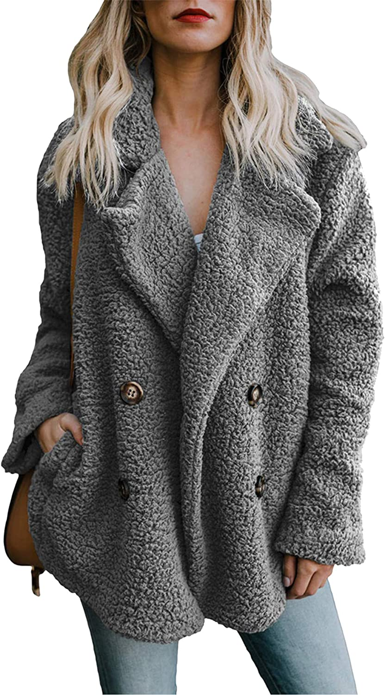 Parabler Damen Pl/üschjacke Mantel Casual Teddyfleecejacke Winterjacke /Übergro/ße Coat Kurz Parka Warmen Outwear Mit Tasche