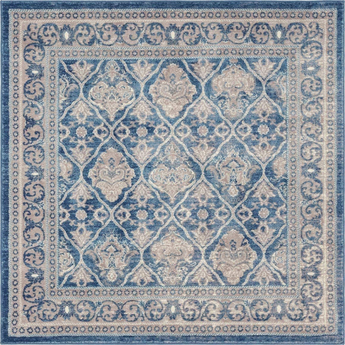 Unique Loom Salzburg Collection Traditional Oriental Light Blue Square Rug 5 0 x 5 0