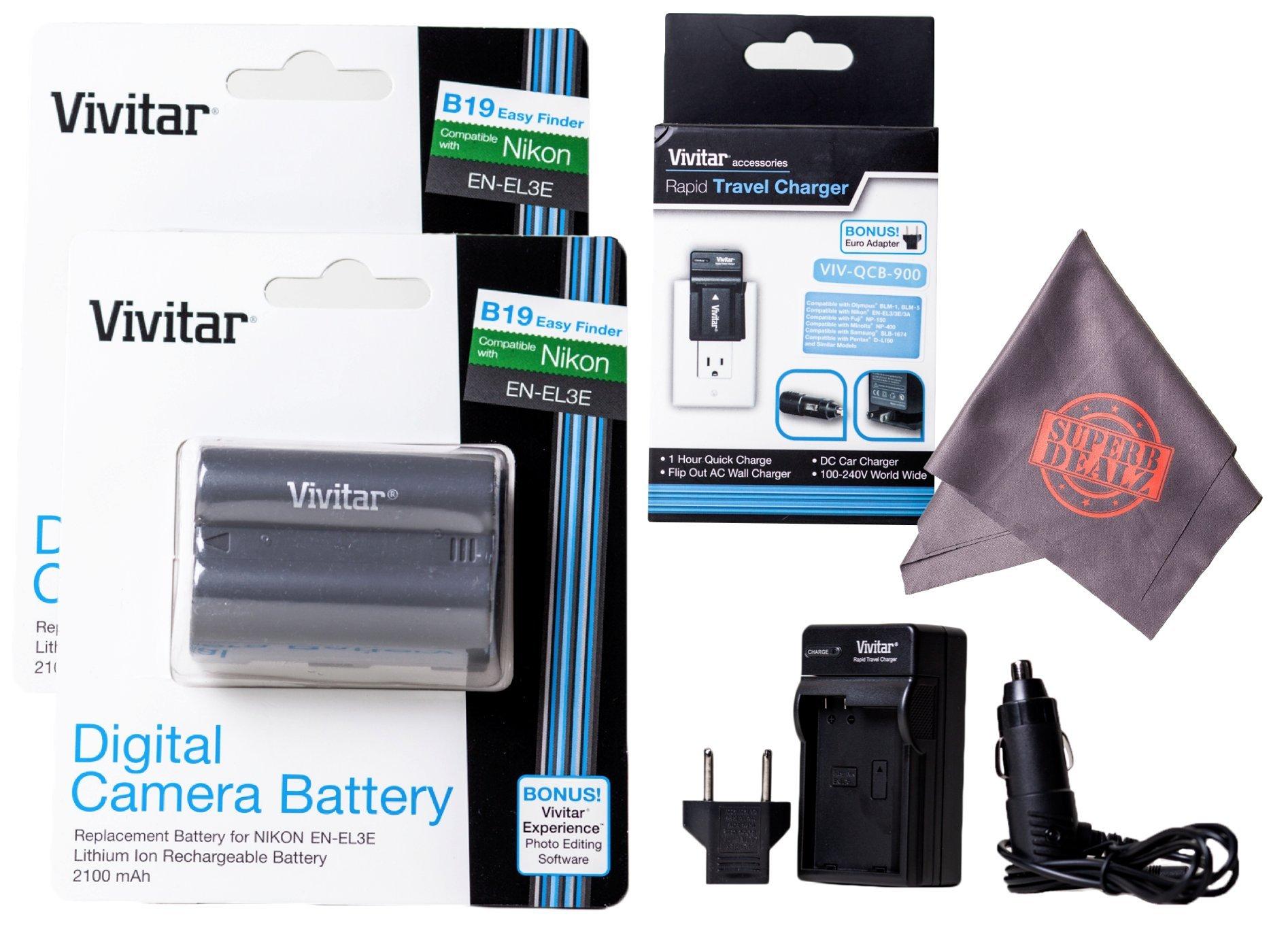 2 Pack of EN-EL3E Vivitar Ultra High Capacity Rechargeable 1900mAh Li-ion Batteries + AC/DC Vivitar Rapid Travel Charger + Microfiber Lens Cleaning Cloth ENEL3E EL3E (Nikon EN-EL3E Replacement) by Vivitar
