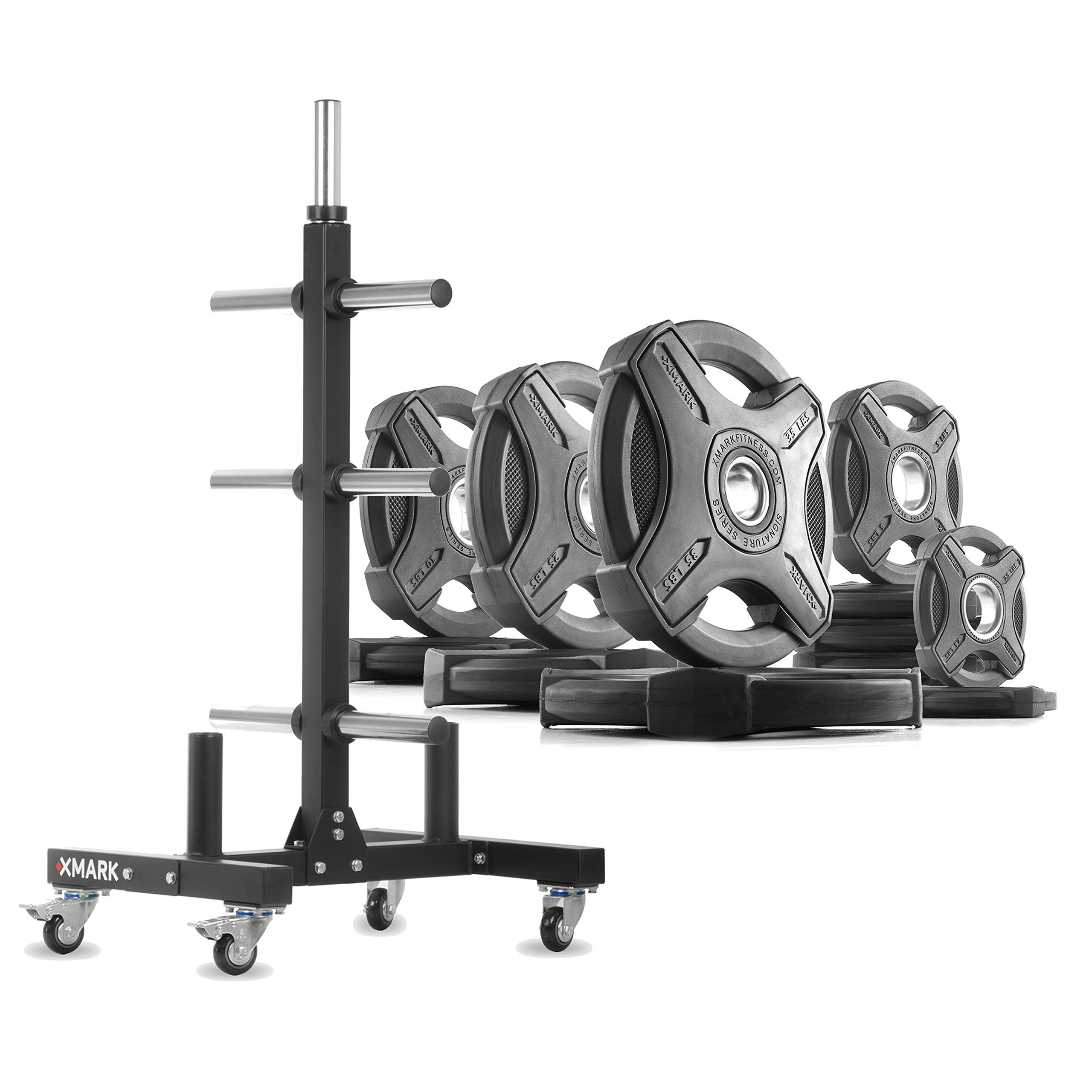 XMark XM-9055 Commerical Olympic Weight Tree Plus a 165 lb Set of Signature Olympic Plates by XMark