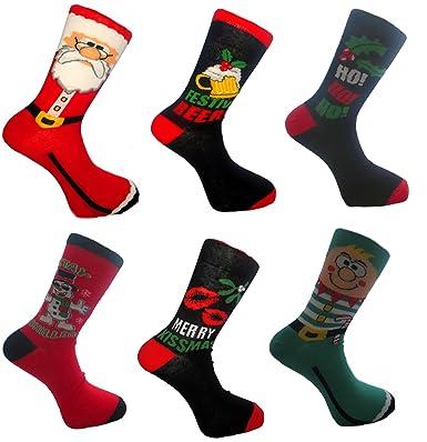 Men's Christmas Fun Socks 6 Pack Uk 7-11 Eur 39-45: Amazon.co.uk ...