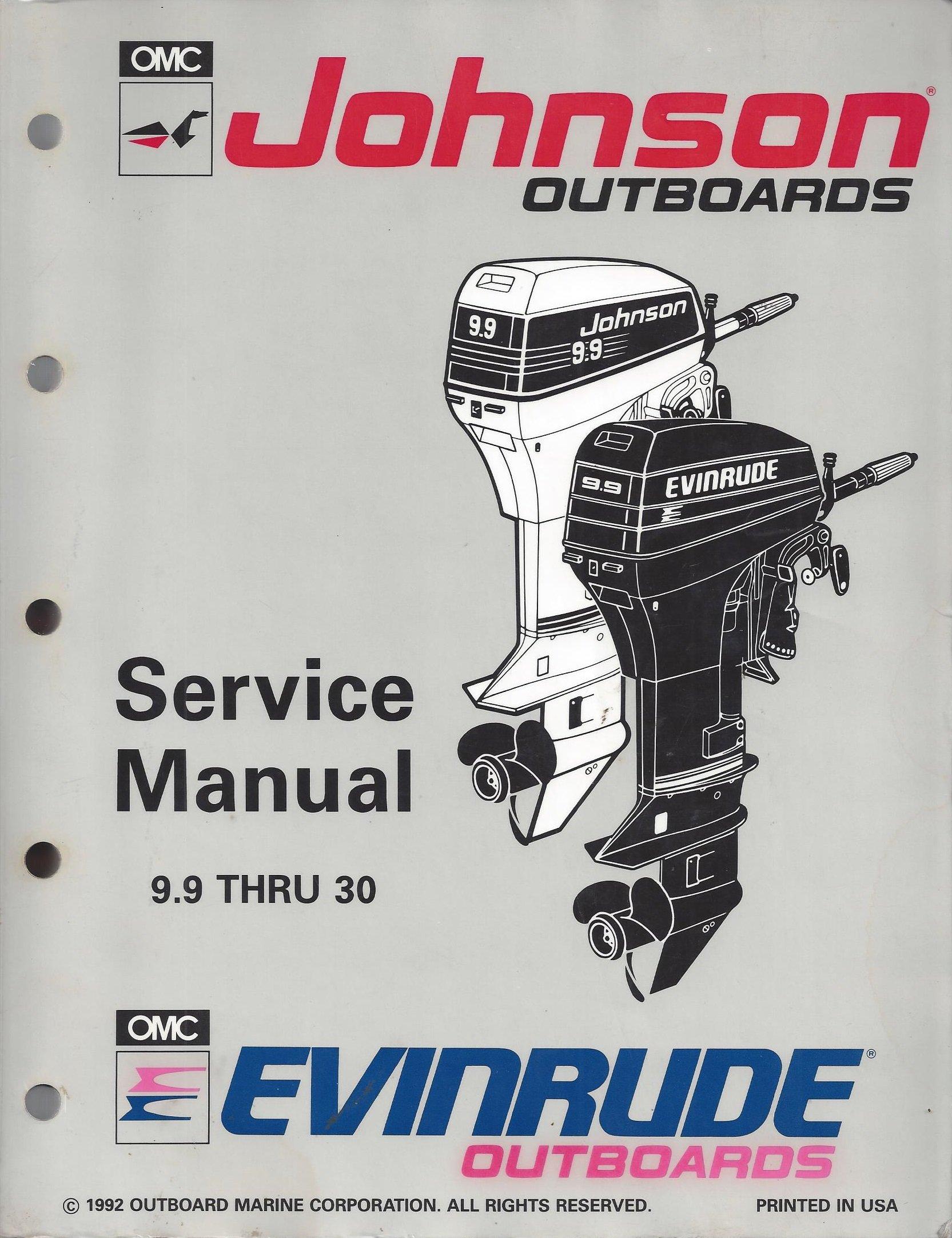 Johnson Evinrude Service Manual 9.9 thru 30 models: Outboard Marine  Corporation: Amazon.com: Books