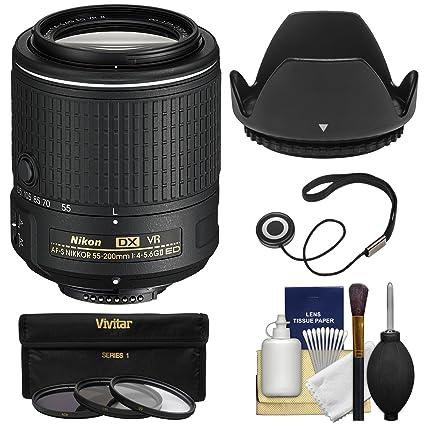 Nikon 55 – 200 mm f/4 – 5.6 G VR II DX AF-S Nikkor ED con 3 ...