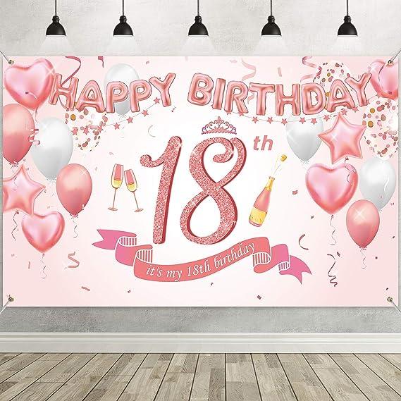 Geburtstag Party Dekor,Hintergrund Banner Geburtstag,Schwarz Gold Deko Geburtstag,18 Jahre Banner,18 Jahre Geburtstag Deko Banner f/ür den 18 Geburtstag,18