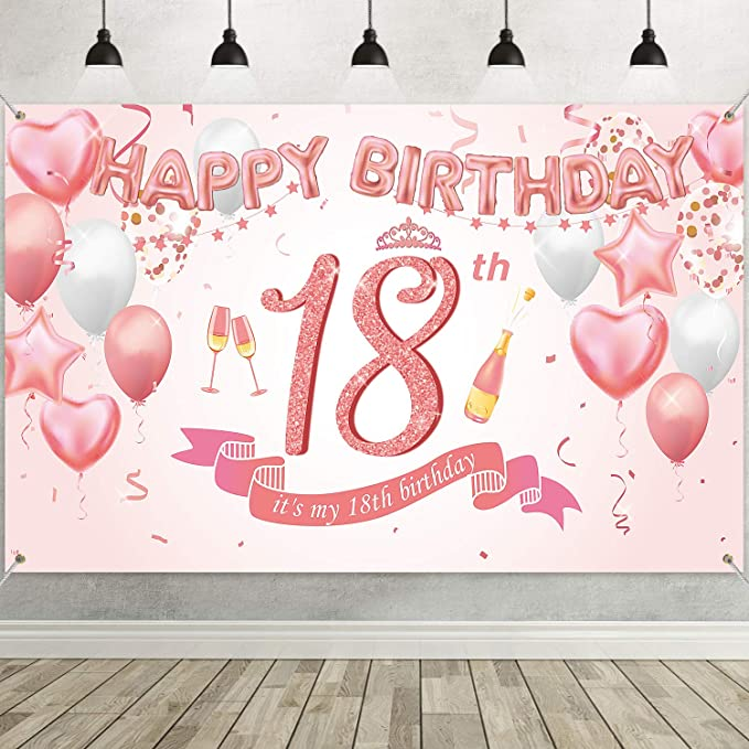 18 Geburtstag Rose Gold Party Dekoration Groß Stoff Kamera