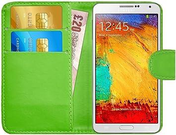 G-Shield Funda para Samsung Galaxy Note 3, Carcasa de Cuero con Ranuras para Tarjetas, Verde