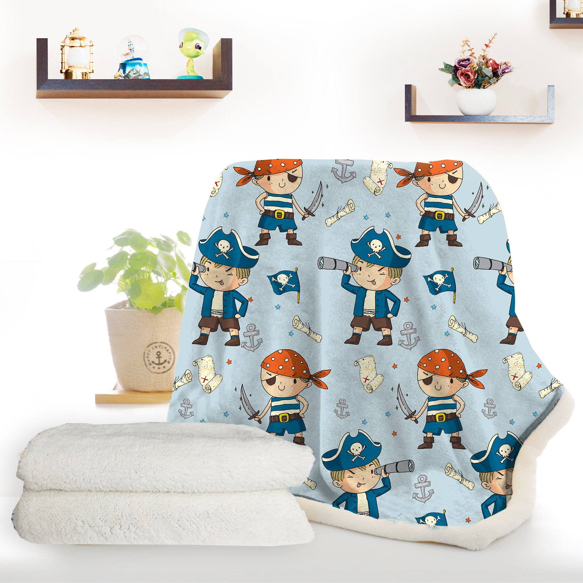 ARIGHTEX Pirate Boy Blanket Nautical Themed Sherpa Fleece Blanket Ultra Soft Blue and Orange Pirates Teens college dorm throw blanket (50 x 60 Inches) by ARIGHTEX (Image #1)
