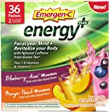 Emergen-C Energy+ Supplement Drink Mix with Caffeine, Blueberry-Acai, Mango-Peach, Variety Box, 36 Count - FOCUS YOUR MIND & REVITALIZE YOUR BODY*