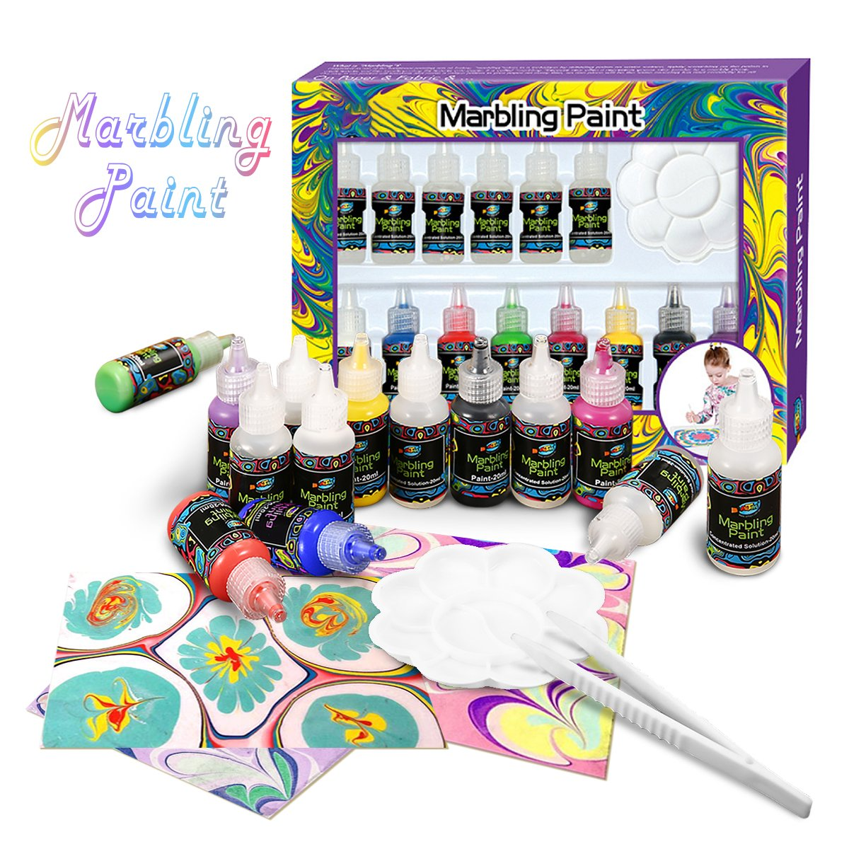 FUNTOK Kids Paint Kit, Arts and Crafts Painting Set Marbling Ink Paint Set Marbling Kit Craft Art Paint Set
