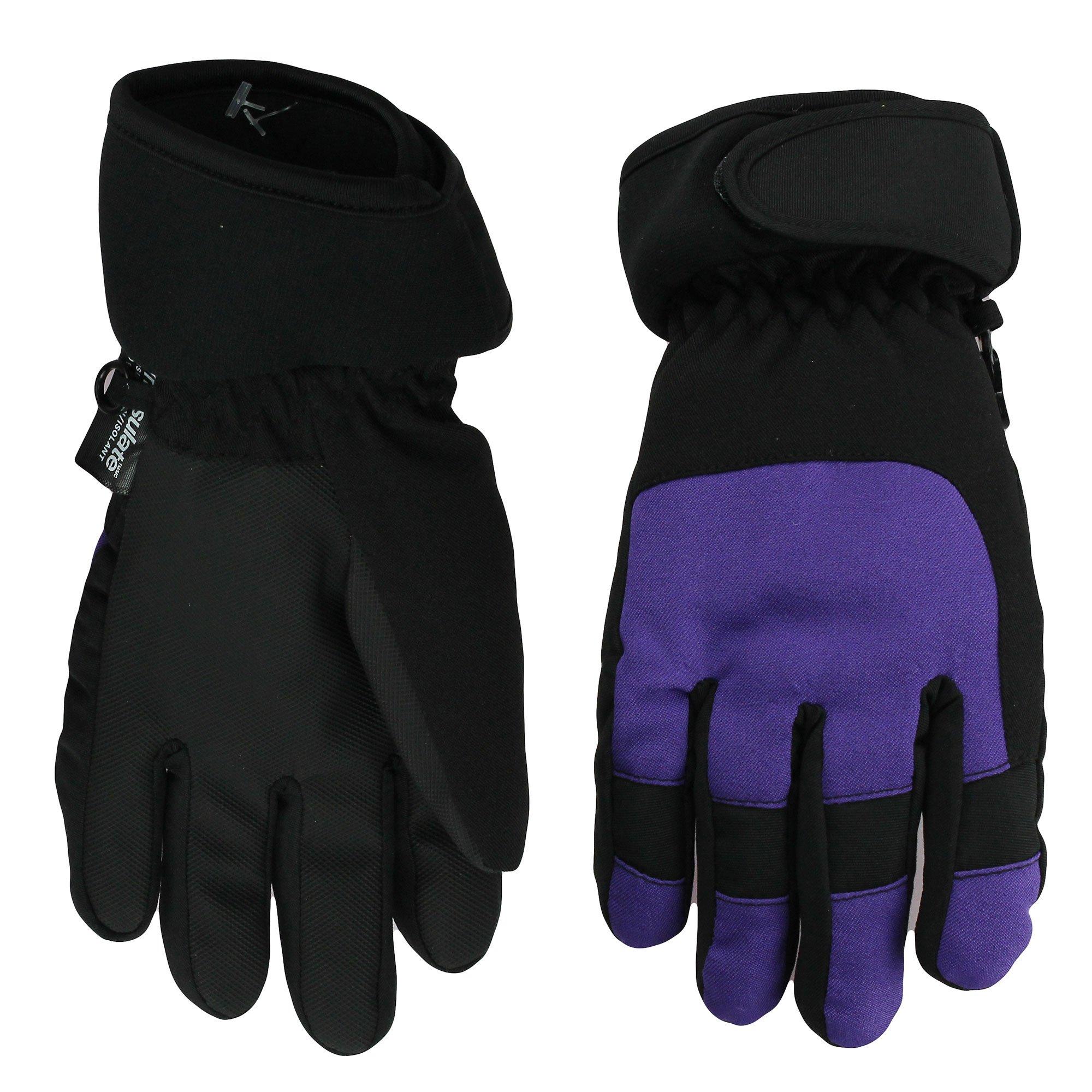 Nolan Girls Thinsulate Waterproof Colorblock Ski Gloves Purple Small-Med