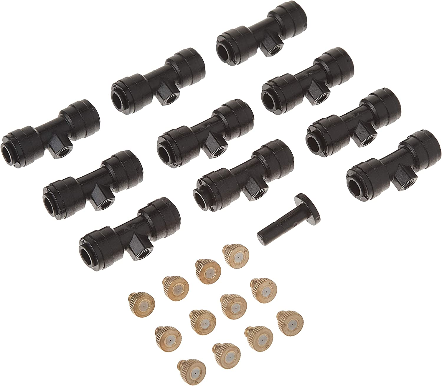 1/4'' Slip-Lock, Outdoor Mist Tee Nozzle, Water Brass Misting Mister Nozzle, Misting Nozzles Kit, with Thread 10/24 UNC Tees 10pcs and 0.4mm Orifice Nozzle 12pcs, for Outdoor Cooling System