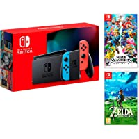 Nintendo Switch Rouge/Bleu Néon 32Go + Super Smash Bros: Ultimate + Zelda: Breath of the Wild