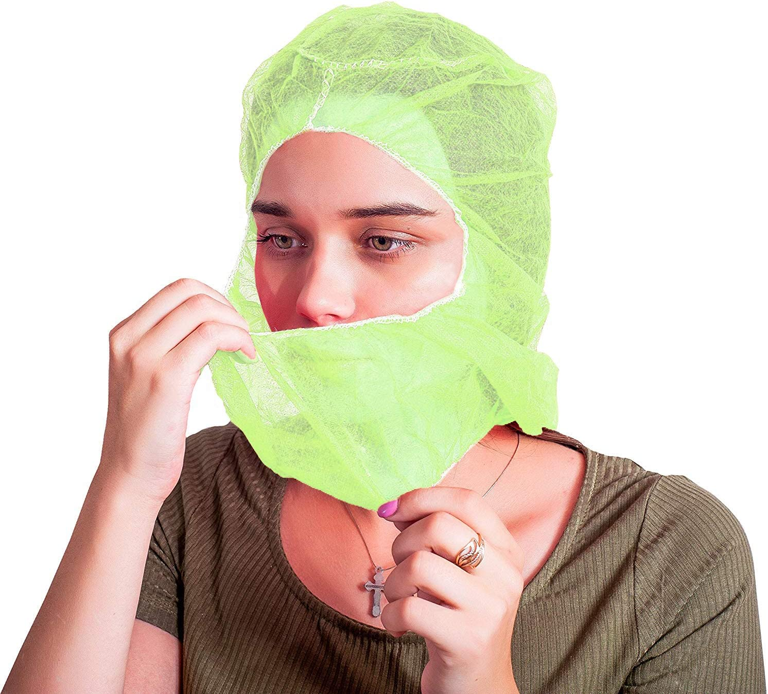 100 Pack Polypropylene Hooded Caps. Green Non Woven Hoods with Elastic Closure. Disposable Bouffant Hoods. Unisex Hair Covers for Food Service, Industrial Use. Breathable, Lightweight. One Size.