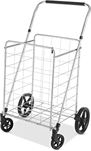 Whitmor Utility Cart with Adjustable Height Handle-Silver/Black