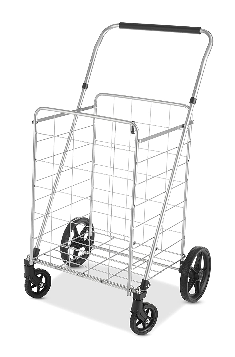 Whitmor Utility Cart with Adjustable Height Handle-Silver Black