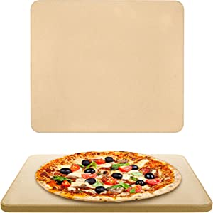 "Vescoware Pizza Stone for Oven - Baking Stone for Bread - Large, Rectangular Cordierite Ceramic Pizza Stone for Grill and BBQ - 16"" x 15"", Best for Crispy Crust Pizza, with Recipes E-Book"