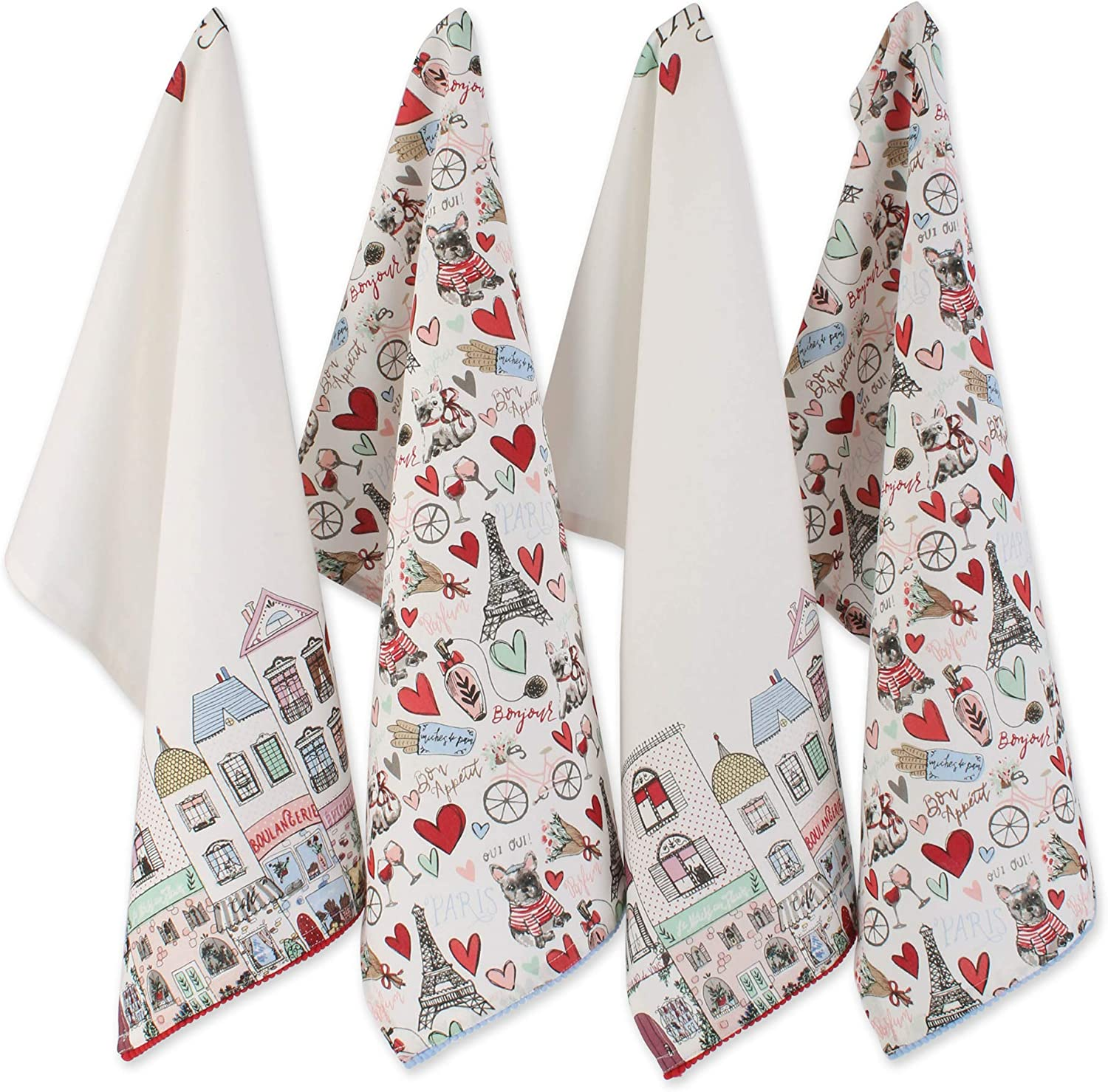 DII I Love Paris Collection Kitchen, Dishtowel Set, Eiffel Tower 4 Piece