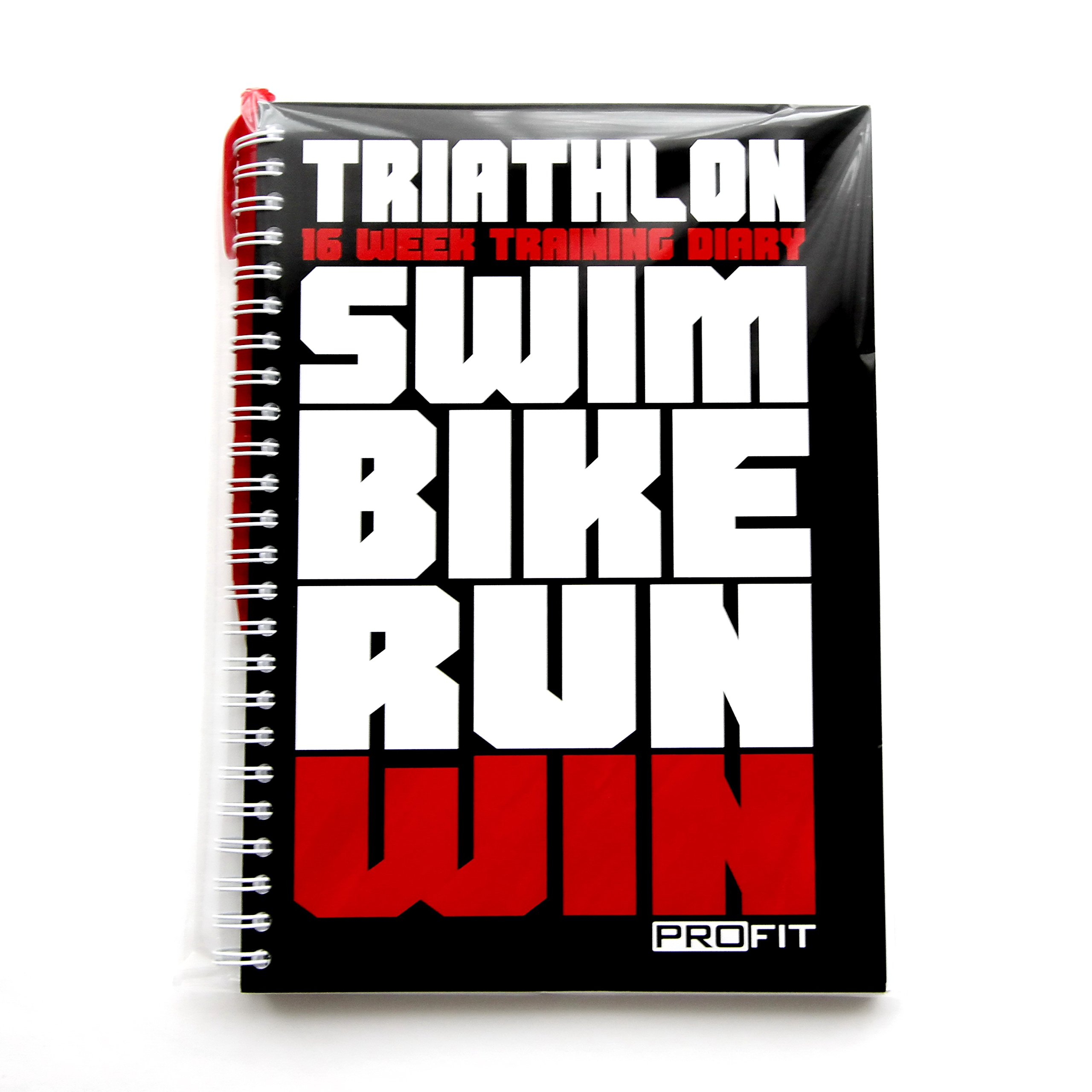 Triathlon & Running Training Diary Profit - Triathlete's Training Journal - 16-Week Triathlon Training Log - A5 Run Planner / 6x8 inches/Pen Included / 160 Pages/Undated / Wire-Bound