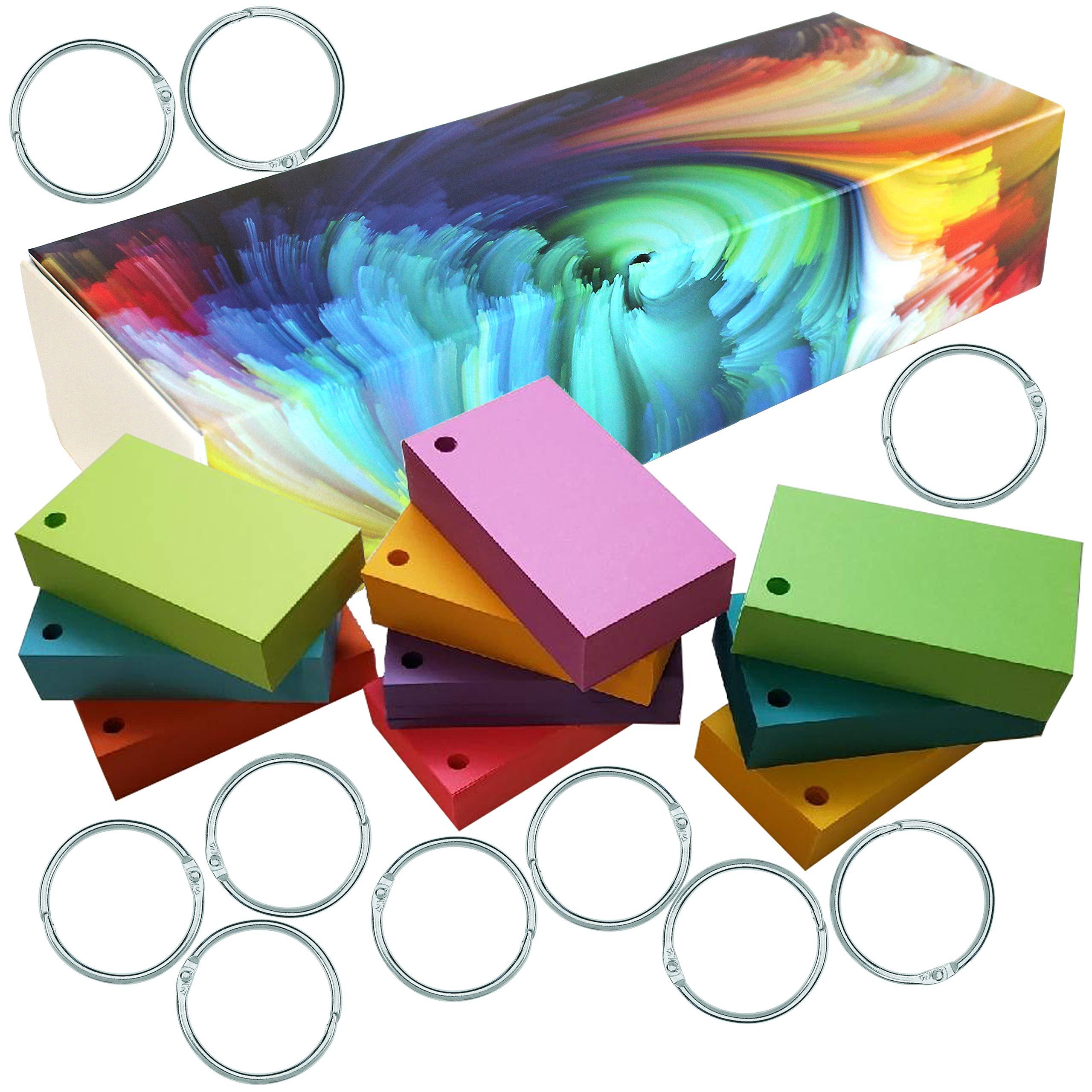DEBRADALE DESIGNS - 900 Blank Hole Punched Flash Note Cards - 10 Bright Colors - 10 Metal Binder Rings - Standard 65# Cover Card Stock - 176 GSM by DEBRADALE DESIGNS