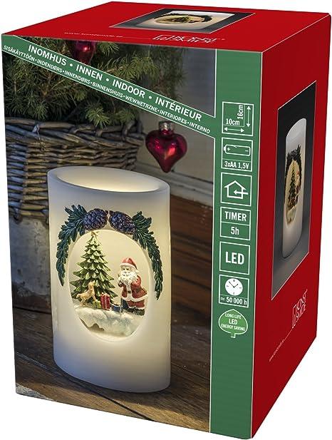 LED Echtwachs Kerze Schneemann inklusive Timer batterieberieben Weihnachten