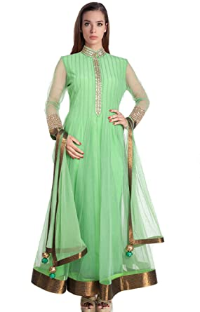 Mishka Women S Designer Anarkali Suit With High Neck Design Amazon