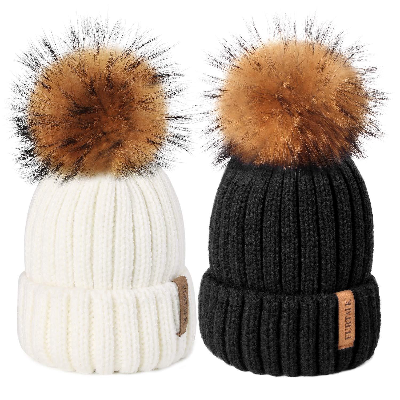 FURTALK Fur Pom Pom Winter Hat - Large Real Fox Fur Ball Knit Beanie Ski Hat for Women Girls Original by FURTALK