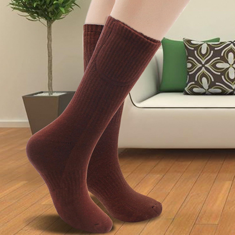 Svpro - Calcetines térmicos eléctricos recargables, con pilas, para deportes al aire libre, acampada, senderismo, calcetines cálidos de invierno, ...