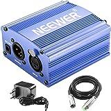 Neewer 1-Canale 48V Phantom Alimentatore di colore Blu con Adattatore e Cavo Audio XLR per qualsiasi Microfono a Condensatore per Musica e studio di Registrazione