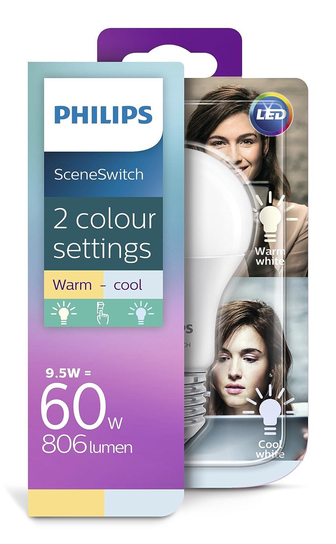 Einfache Dekoration Und Mobel Sceneswitch Von Philips #26: Philips 2-in-1 LED Lampe SceneSwitch Ersetzt 60W, EEK A+, E27 Standardform,  Dimmen Ohne Dimmer: Amazon.de: Beleuchtung