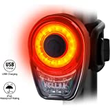 VELLAA Rear Bike Lights USB Rechargeable – Bike Tail Light Powerful 6 Setting, LED Bicycle Rear Light Red Taillight Back Easily Clip On for Cycling Safety IPX8 Waterproof 360° Rotatable