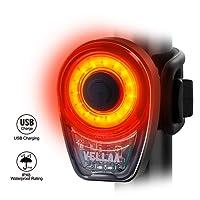 VELLAA Lumière Arrière, COB LED Pour Vélo USB Rechargeable Feux du Vélo Arrière Eclairage Arrière Vélo Ultra Léger Couleur Rouge Avec USB Rechargeable,6 modes de Imperméable à l'eau Bike Light
