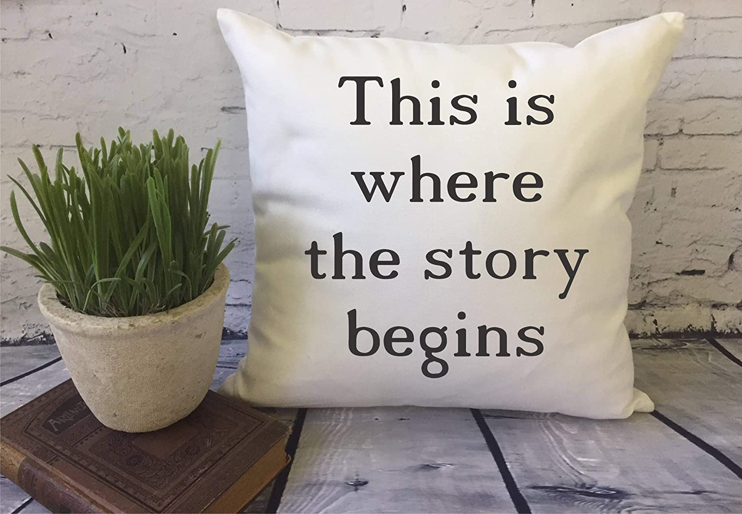 EricauBird Throw Pillow Cover This is Where The Story Begins Pillow Decorative Throw Pillow Cover Couples Gift Wedding Gift Housewarming Gift, 18x18