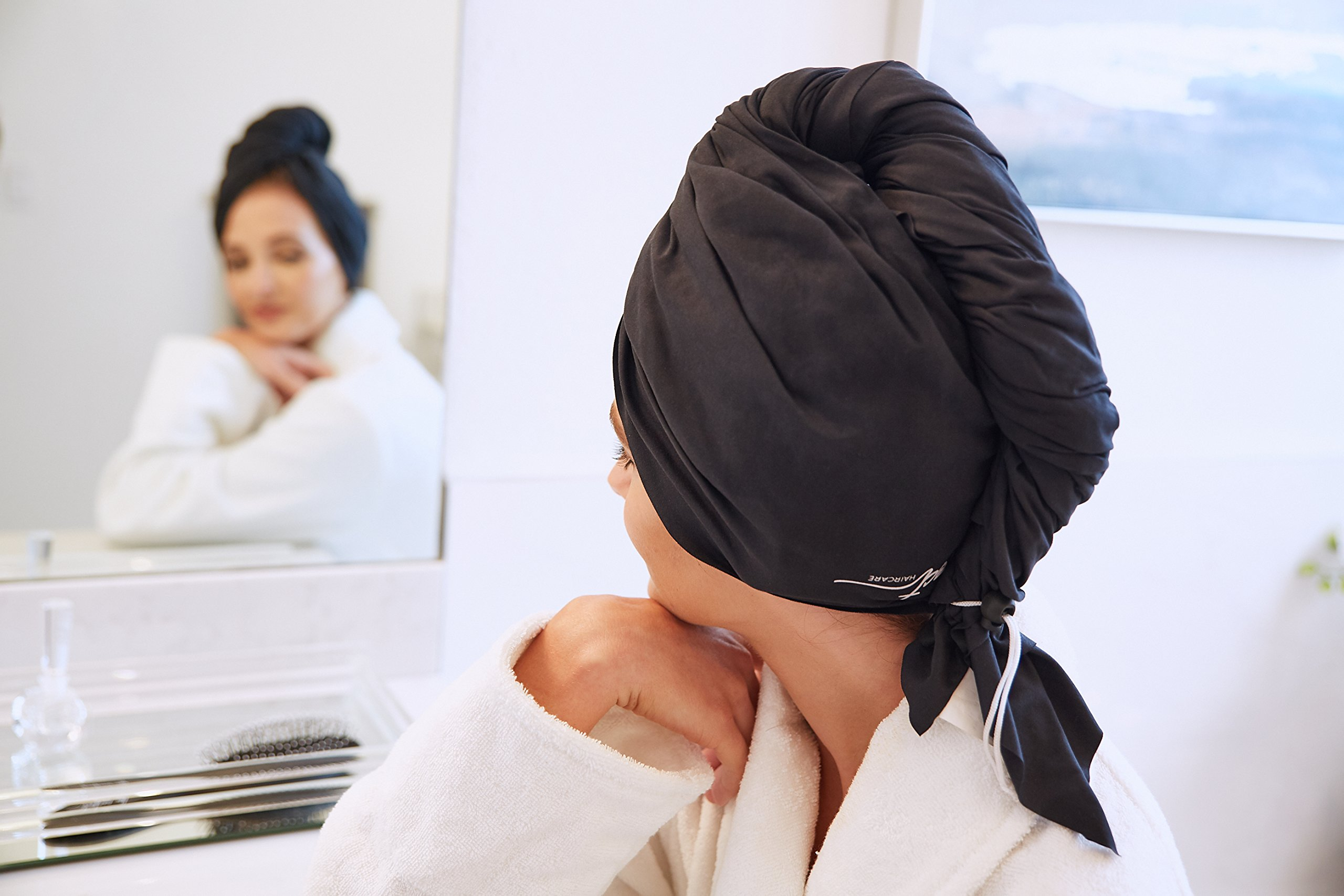 The Perfect Microfiber Hair Towel Wrap - Absorbent Turban for Fast, Anti-Frizz Drying - Never Falls Off Curly or Straight Hair - (38.5''x27.5'') Includes Wet or Dry Detangling Brush (Black) by The Perfect Haircare (Image #9)