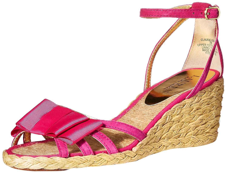 Lauren Ralph Lauren Women's Claudie Espadrille Wedge Sandal B0170WVC4I 5 B(M) US Geranium Kid Suede