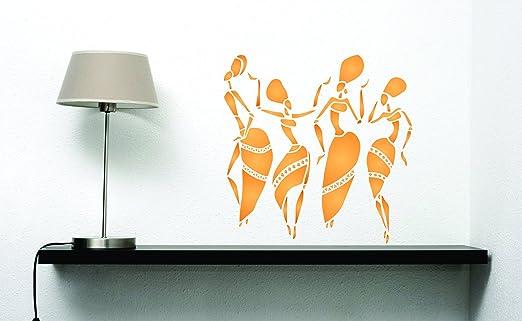 s /da usare su poster scrapbook Journal muri pavimenti tessuto mobili in vetro legno ecc /riutilizzabili donne Lady ballerini etnico tribale Wall stencil per pittura/ African Dancers stencil/