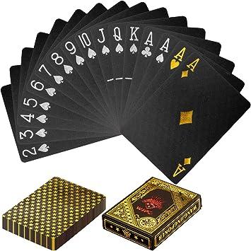 Maxstore Design Plastic Poker Cartas 100% Impermeable Juego de Mesa de Naipes de plástico Resistente a Las lágrimas, Cubierta Color Oro Negro: Amazon.es: Deportes y aire libre