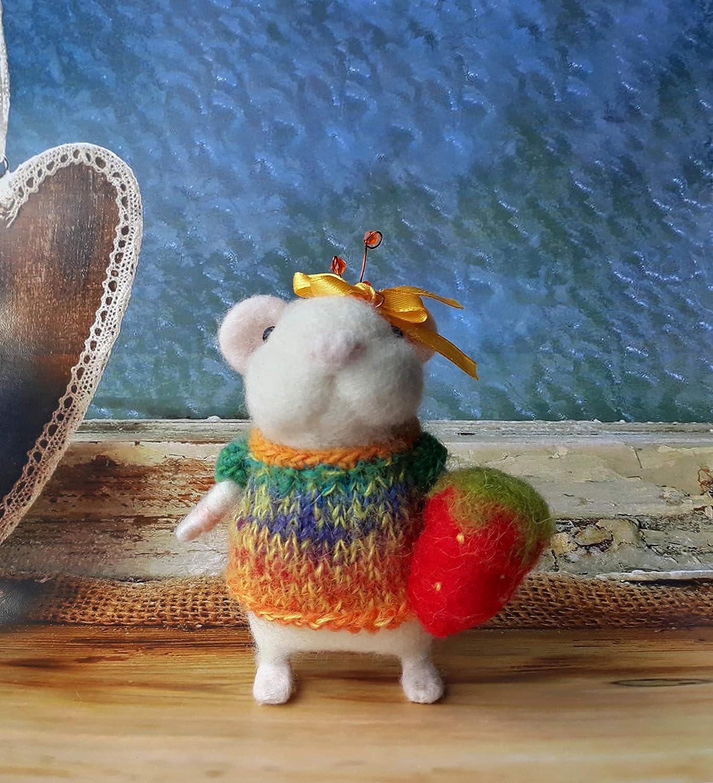 Felting doll fiber art Needle felted mouse ECO Nature gifts toy Felt animal