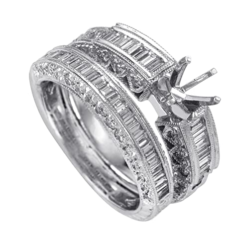 cbf56453d674b Amazon.com: Natalie K 14K White Gold Diamond Bridal Mounting Set SM4 ...