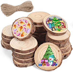 "Natural Wood Slices, 40PCS 2.8""-3.1"" Unfinished Natural Wood Slices Circles with Hole Wooden Circles, 32.8ft Hemp Rope, DIY Crafts Wedding Decorations Christmas Ornaments"