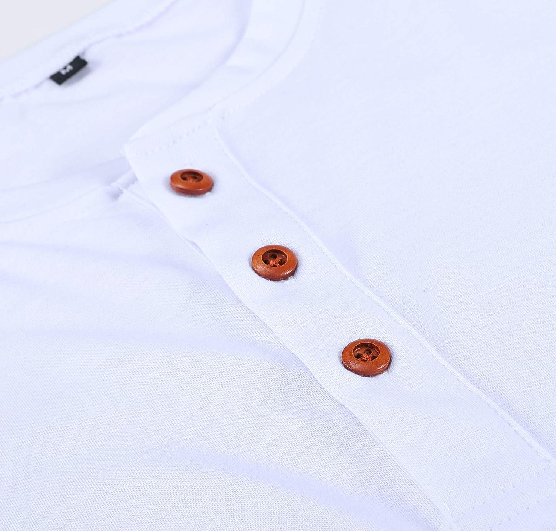 Cyiozlir T-Shirts /à Manches Longues Homme Henley Shirt Tee Shirt Col Tunisien und boutonn/é Couleur Unie Chemise Taille M-3XL