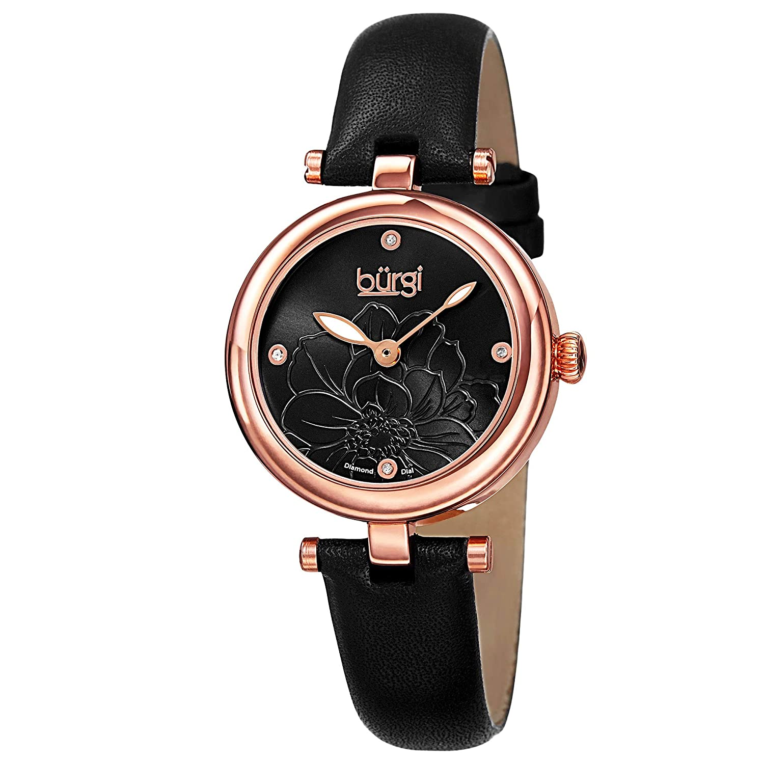 Burgi Diamond Accented Flower Dial Watch – 4 Diamond Hour Markers On Genuine Leather Strap – BUR128