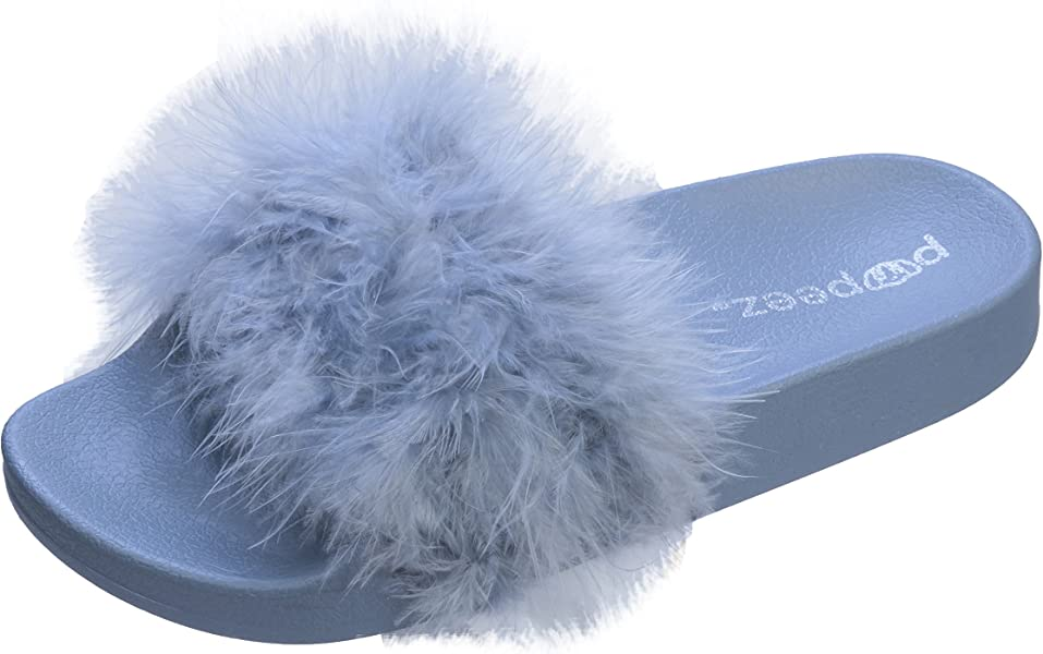 fa97b4aedbb3 Slippers Pupeez Girls Open Toe Flip Flop Slide Slippers with Soft Faux Fur  Top and Hard Sole 9373