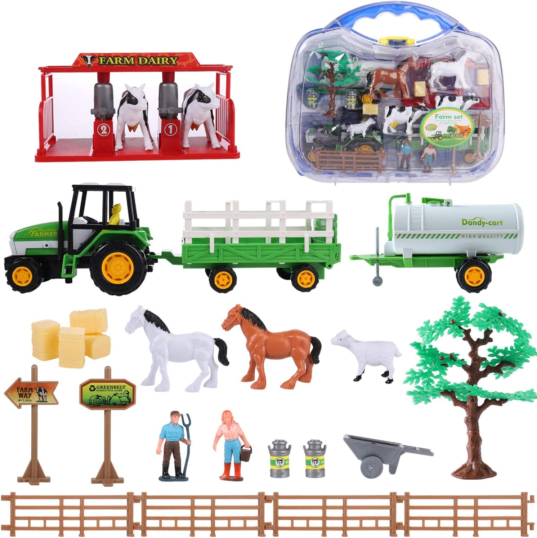 SHANNA Juguetes de Granja para Niños, Juguetes de Granja, Figuras, Animales, Cercas, Tractores y Accesorios para Regalos de Niños (Juguete de Granja A)