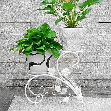 Bao Xing Bei Firm Terraza Jardinera de Escalera de pie/para Sala de Estar Estancia de Flor para Interior y Exterior/Planta de araña de Hierro Forjado Ramo de Flores Verdes (Color : Blanco):